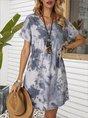 V Neck Shift Casual Ombre/tie-Dye Mini Dress