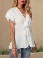 White Short Sleeve V Neck Casual Lace Up Top