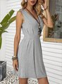 V Neck Gray A-Line Sexy Solid Mini Dress