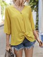 Half Sleeve Solid Casual  Simple Blouse