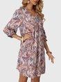 V Neck Pink Shift Boho Mini Dress