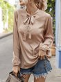 V Neck Work Bow Blouse