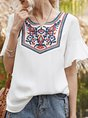 White Short Sleeve Holiday Crew Neck Top
