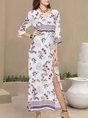 White Shift Printed  Maxi Dress
