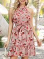 Halter Pink Date Bow Floral Mini Dress