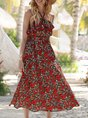 Strapless Red Holiday Printed Midi Dress