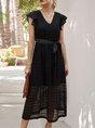 V Neck A-Line Vintage Solid Maxi Dress With Belt