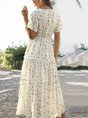 A-Line Holiday  Floral Maxi Dress