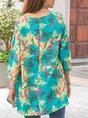 Lake Blue V Neck Short Sleeve Floral Tunic