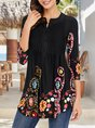 Black V Neck Holiday Floral Printed Tunic