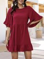 Frill Sleeve Shift Casual Solid Mini Dress