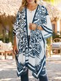 White Shift Printed Holiday Tribal Kimono