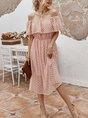 Horizontal Neck  Date Elegant Solid  Midi  Dress