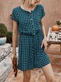 Short Plaid Sleeve Casual One-Pieces Romper