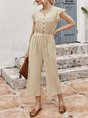 V Neck Stripes Short Sleeve Buttoned One-Pieces Jumpsuit