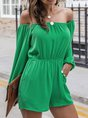 Green Casual Shift Solid Romper