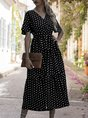 V Neck A-Line Printed  Polka Dots Maxi Dress