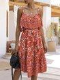 Square Neck Shift Holiday Boho Midi Dresses