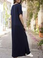 V Neck Purplish Blue Casual Maxi Dress