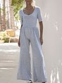 Solid Short Sleeve One-Pieces Causal Jumpsuit