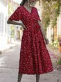 A-Line Holiday  Polka Dots Maxi Dress