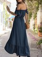 Horizontal Neck  A-Line Holiday Ruffled Maxi Dress