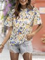 White Holiday Shift  Floral Blouse