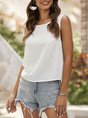 White Casual Guipure Lace Solid  Top