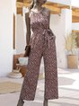 Halter Sleeveless Holiday Floral One-Pieces With Belt Jumpsuit
