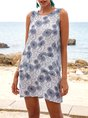 White Shift Beach Floral Mini Dress