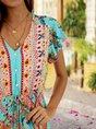 Tribal V Neck Beach Tribal Maxi Dress
