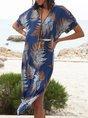 V Neck Blue Swing Beach Floral Midi Dress