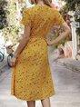 V Neck  Holiday Boho  Midi Dress