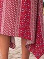 Spaghetti Red Daily Floral Midi Dress