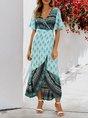 V Neck Green A-Line Printed Maxi Dress