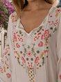 V Neck Shift Embroidered Vintage Mini Dress