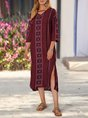 Burgundy Shift Vintage Midi Dress