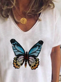 White Printed Cotton-Blend V Neck Casual Top