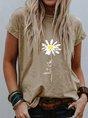 Floral-Print Short Sleeve Casual T-Shirt