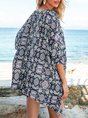 Purplish Blue Floral 3/4 Sleeve Holiday Top