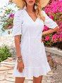 V Neck White Date Floral Mini Dress