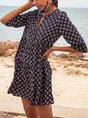 Purplish Blue A-Line Beach Boho Mini Dress