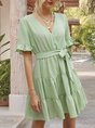 V Neck Green Holiday Tiered Mini Dress