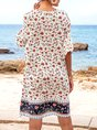 White Floral Shift Boho Mini Dress
