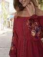 A-Line Beach Floral Midi Dress