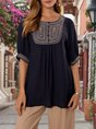 Navy Blue Embroidered Ethnic Tribal Top
