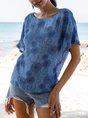 Blue Casual Floral Shift Top