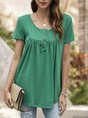 Green Solid Shift Short Sleeve Casual  Top
