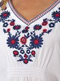Holiday Floral Batwing Embroidered Top