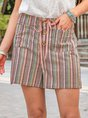 Women Linen Casual Drawstring Striped Short